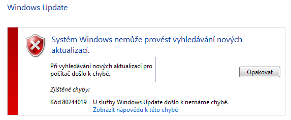 Chyba Windows Update 80244019
