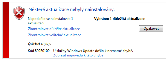 Windows Update Error 800B0100